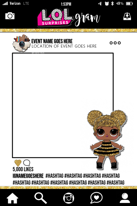 LOL Surprises Party Prop Frame Template | PosterMyWall