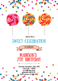 Lollipop candy birthday party invitation