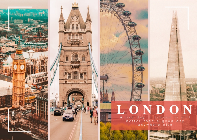 London Travel Photo Collage Kartu Pos template