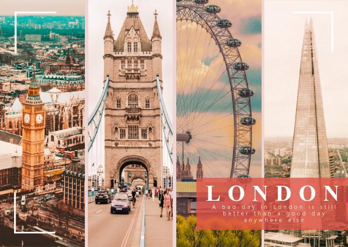London Travel Photo Collage Kartu Pos template
