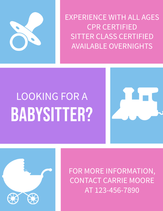 Looking for a Baby Sitter Flyer (Letter pang-US) template