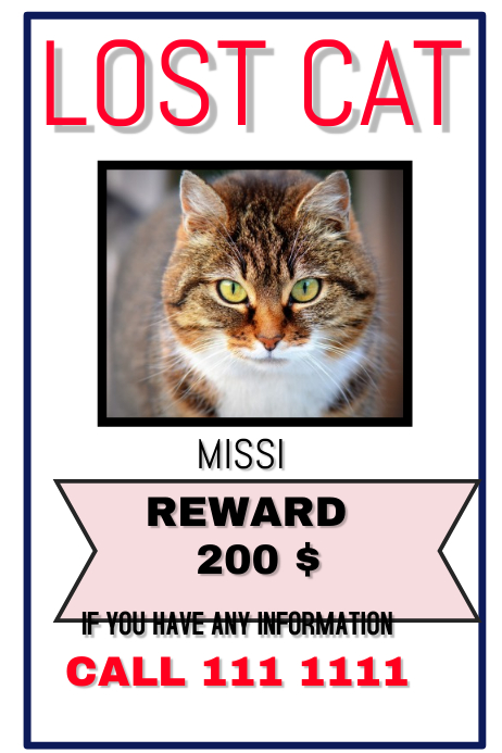 LOST CAT, DOG Poster template