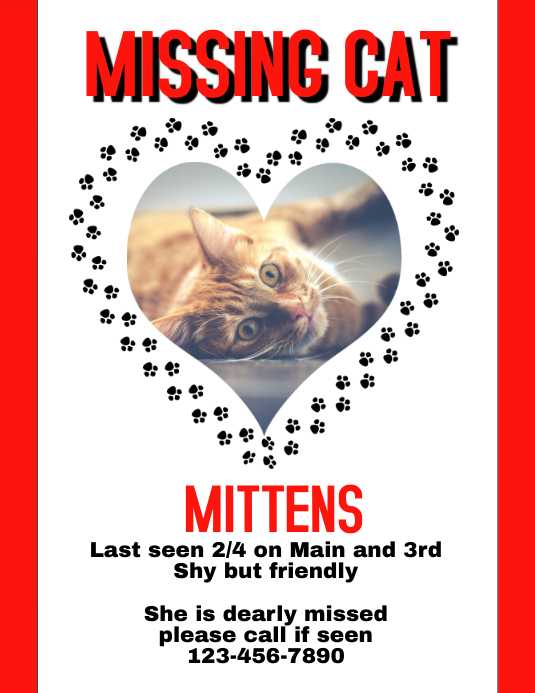 lost cat dog pet flyer template