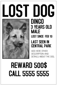 lost dog black and white poster template