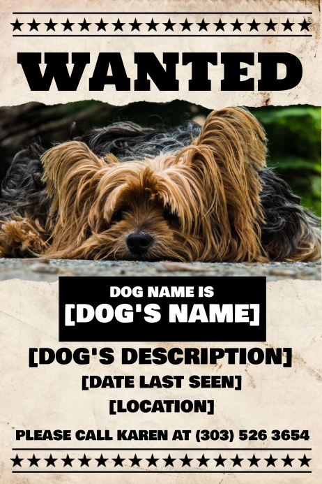 lost dog flyers template
