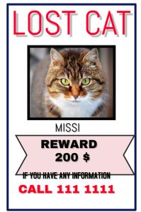 lost cat template
