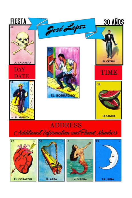 graphic relating to Printable Loteria Cards Pdf titled Lotería Birthday Invitation Template PosterMyWall