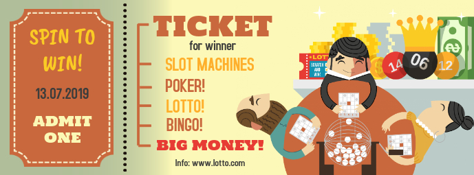 Lottery Ticket Illustrated Design Template