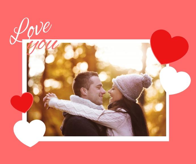 Love Frame Valentine's Day Mellemstort rektangel template