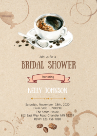 Love is brewing coffee party invitation