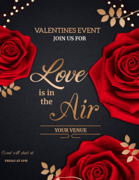 Love is in the air,Valentines Flyer (format US Letter) template