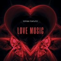Love Red Heart CD Cover Music Portada de Álbum template