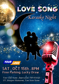 Love Song Karaoke Night A4 template