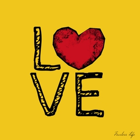 Love word pop design heart drawing poster template