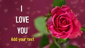Love you video heart graphic with a rose