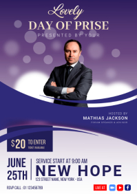 Lovely Day of Praise Church Flyer A4 template