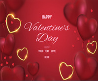 Lovely Happy Valentine's Day with hearts Mellemstort rektangel template