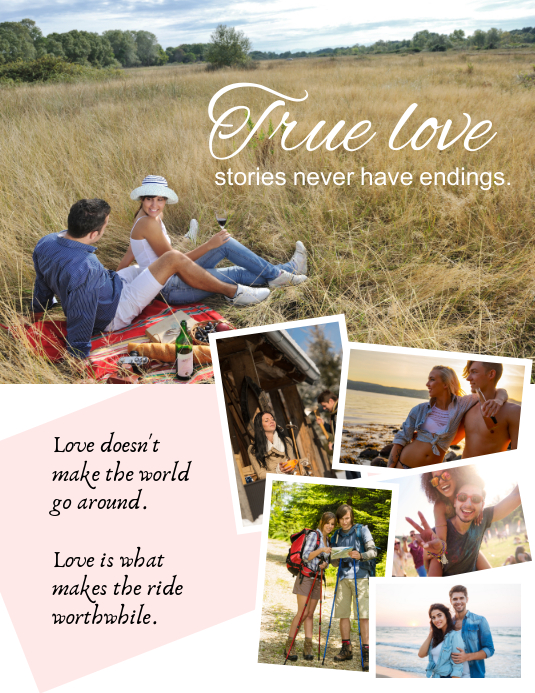 Loving couple family collage ใบปลิว (US Letter) template