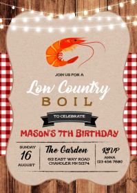 Low country boil theme invitation