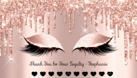 Loyalty Card Rose Gold Pink Glitter Eyes template