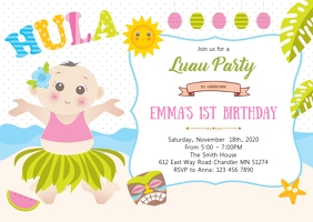 Luau 1st birthday party invitation