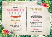 Luau Bachelorette itinerary invitation A6 template