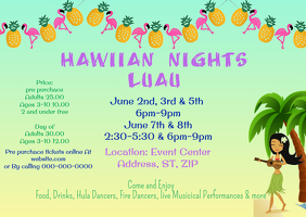 Luau Flyer Cartolina template