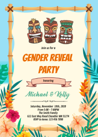 Luau gender reveal shower invitation A6 template