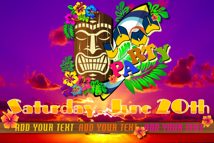 luau party event flyer template postermywall