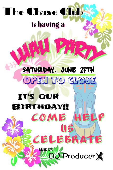 Luau Party 海报 template