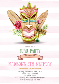 Luau tiki birthday party invitation A6 template