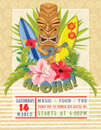 Luau Tiki Party Flyer template