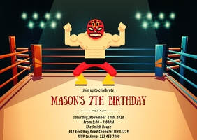 Luchador wrestling birthday party invitation A6 template