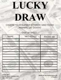 LUCKY DRAW RAFFLE LOTTO LOTTERY FORM Løbeseddel (US Letter) template
