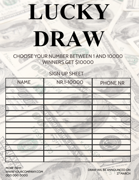 LUCKY DRAW RAFFLE LOTTO LOTTERY FORM Pamflet (Letter AS) template