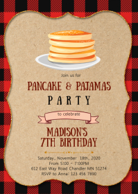 Lumber Pancakes pajamas birthday invitation