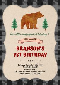 lumberjack bear first birthday invitation A6 template