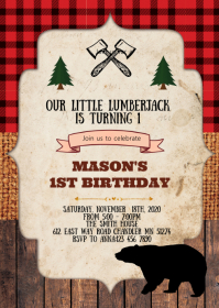 Lumberjack birthday party invitation