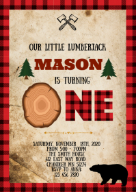 Lumberjack birthday party invitation A6 template