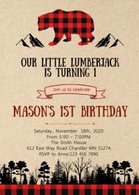Lumberjack birthday party invitation