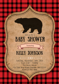 Lumberjack shower invitation
