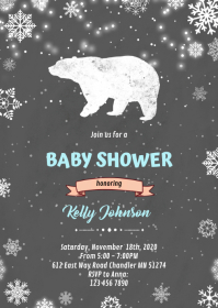 Lumberjack winter bear invitation