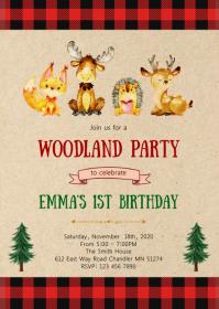 Lumberjack woodland birthday party invitation