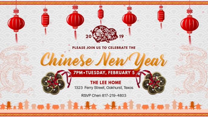 Lunar New Year Event Invitation - White Video Sampul Facebook (16:9) template