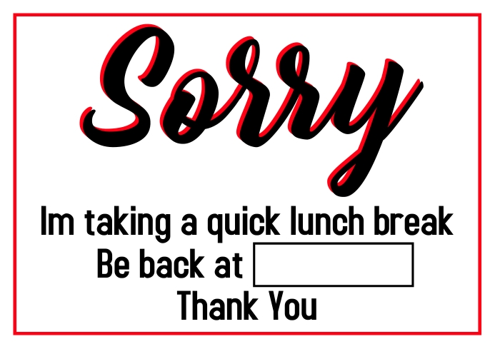 Lunch break A1 template