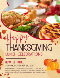 Lunch celebrations Thanksgiving flyer template