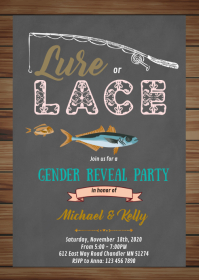 Lure or lace gender reveal party invitation