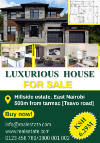 Luxurious house for sale A4 template