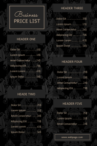 Luxury Business Price List Template Beauty