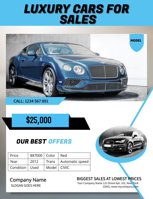 luxury car sale poster template postermywall. Black Bedroom Furniture Sets. Home Design Ideas